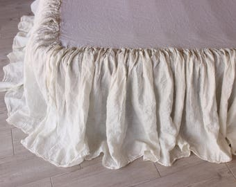 Linen Bedskirt Dust Ruffle Split Corners Organic Stone Washed Bed Skirt Shabby Chic Look 8 Natural colors for Twin CalKing Queen Full sizes