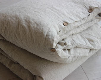 16e040b4c761 Linen Duvet Cover Stone Washed Organic Softened Comfortable 100% Linen Twin  Double Full King CalKing Queen AU sizes Natural Colors Flax