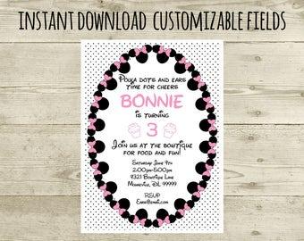 Minnie Mouse Birthday Printable Invitation, instant download, digital party invite, Editable PDF, Girl Birthday Invite Printable