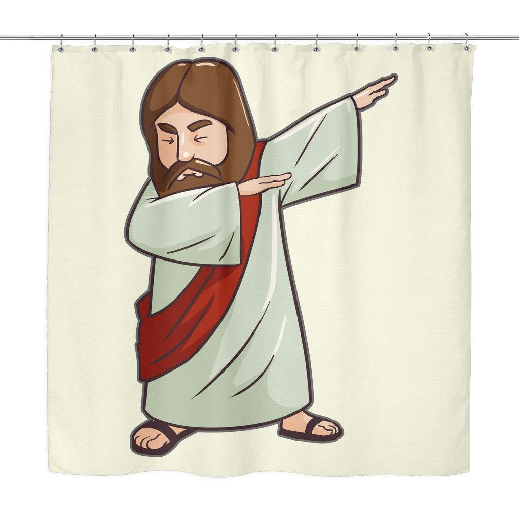 Dabbing Jesus Shower Curtain Holiday Decor Funny Gifts For