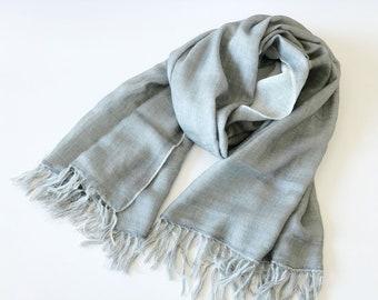 c93a8feaa192d 100% Pure Virgin Wool Double Faced Tassel ladies Pashmina Super Soft Light  Warm Women Men Long Scarves Shawl Wraps Two Tone Light Misty Grey