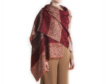 100% Pure Wool Bohemian Blanket Scarves Winter Shawl Ladies Fashion Wraps Vintage Women Pashmina Burgundy Red Brown Soft Cashmere Feeling