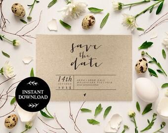 Save the Date Editable pdf Template, INSTANT DOWNLOAD, Printable Wedding invite, DIY Rustic Save the Date, pdf, Digital file - Sara
