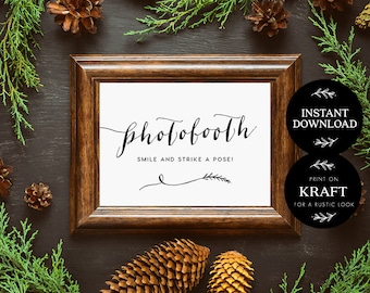 Printable Photobooth Sign, Rustic DIY Wedding Sign, INSTANT DOWNLOAD, Wedding Sign, Printable Photobooth Sign - Lilly
