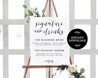 Signature Drink Sign INSTANT DOWNLOAD Editable PDF, Signature Drinks Printable, Wedding Reception Sign, Wedding Bar Sign - Lilly