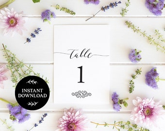 Printable Table Numbers, INSTANT DOWNLOAD, x40 Numbers 2 per page, DIY Rustic Wedding Reception, pdf, Digital File - Tiffany