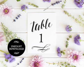 Printable Table Numbers, INSTANT DOWNLOAD, x40 Numbers 2 per page, DIY Rustic Wedding Reception, pdf, Digital File - Florence