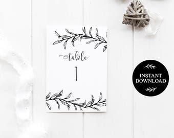 Printable Table Numbers, INSTANT DOWNLOAD, x40 Numbers 2 per page, DIY Rustic Wedding Reception, pdf, Digital File - Ella