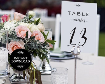 Printable Table Numbers, INSTANT DOWNLOAD, x40 Numbers 2 per page, DIY Rustic Wedding Reception, pdf, Digital File - Lilly