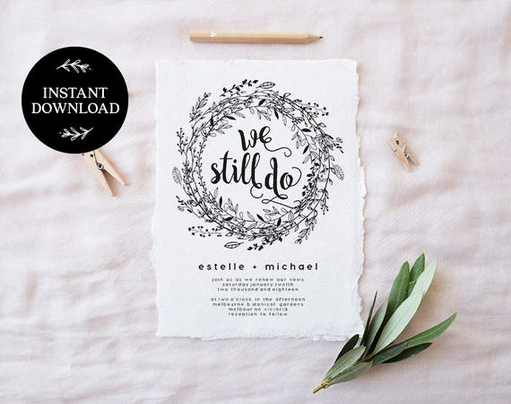 Invitation For Renewal Of Wedding Vows: Vow Renewal Invitation Template INSTANT DOWNLOAD We Still