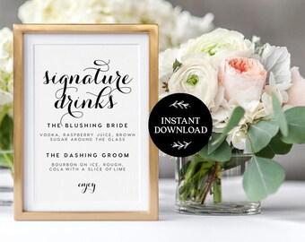 Signature Drink Sign INSTANT DOWNLOAD Editable PDF, Signature Drinks Printable, Wedding Reception Sign, Wedding Bar Sign - Charlotte