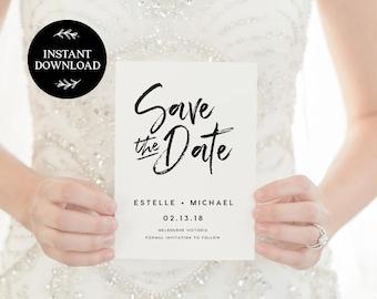 Save the Date Editable pdf Template, INSTANT DOWNLOAD, Printable Wedding invite, DIY Rustic Save the Date, pdf, Digital file - Harper