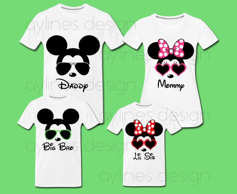 b43872978 Minnie Mickey Mouse Sunglasses Prints for Disney Family Shirts | Etsy