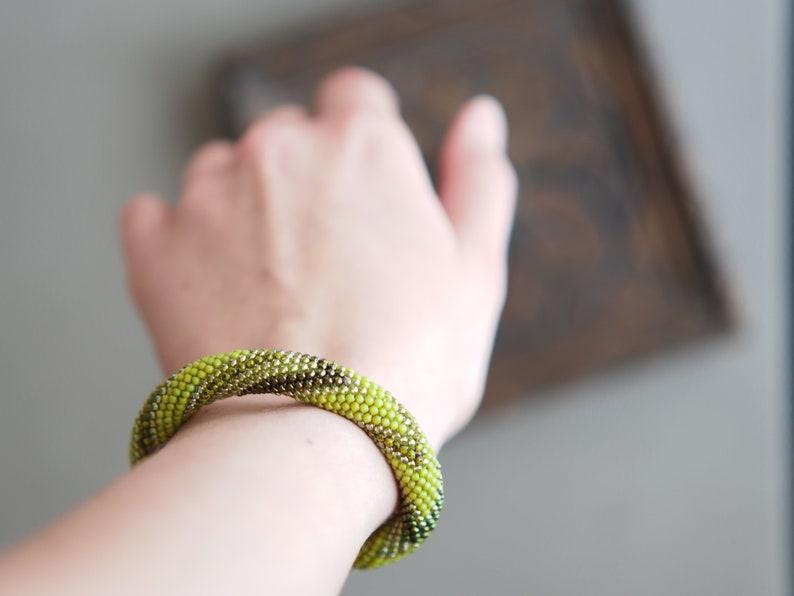 Lime green bracelet Olivine zig zag bracelet