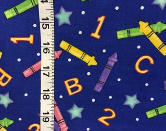 Kids Alphabet Crayon Fabric By the Yard Cotton 36 Inches Long