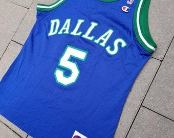 7aaa97008e3 Dallas Mavericks Vintage 90s Champion Basketball Jersey  5 Jason Kidd Size  40