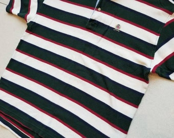 ba52567ff5 Tommy Hilfiger Vintage Striped Short Sleeve Polo Shirt Size XL Men s