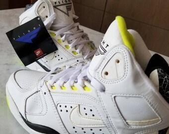 42744311 Vintage 1990 OG Nike Air Flight Lite High Top Sneakers White Citron Size 8  US
