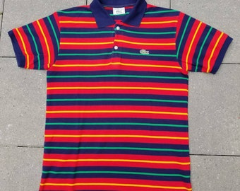 cca338d46 Lacoste Vintage 90s Short Sleeve Striped Polo Shirt Size 4 Small Men's
