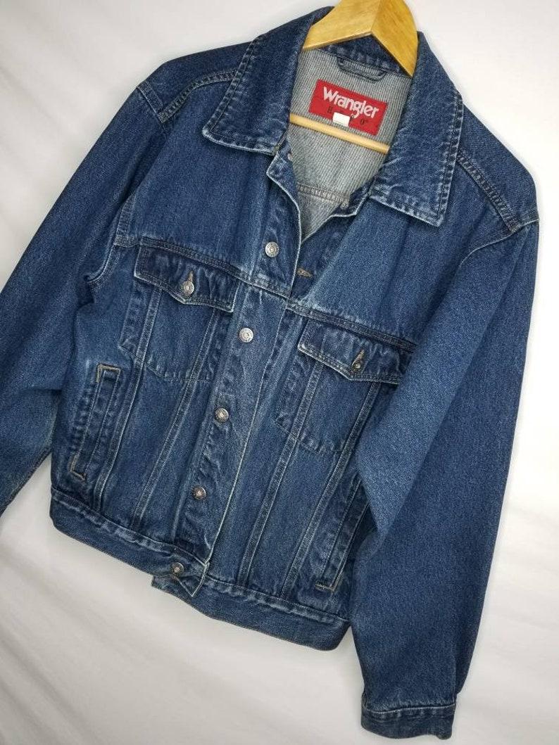 Vintage Wrangler Hero Denim Jean Jacket Size Medium Mens Button Up Blue