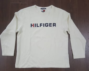 Tommy Hilfiger Spellout White Thermal Long Sleeve Shirt Size Large Men's