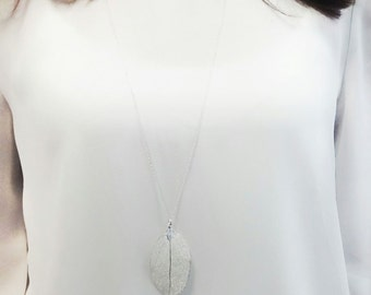 Silver 925 Natural leaf long necklace. Real leaf treated and bathed in sterling silver pendant. Natural Leaf Necklace.