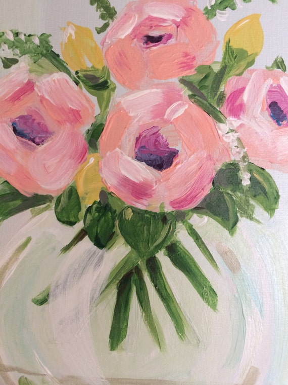 Small Acrylic Flower Vase Painting 14 X 11 On Canvas By Etsy