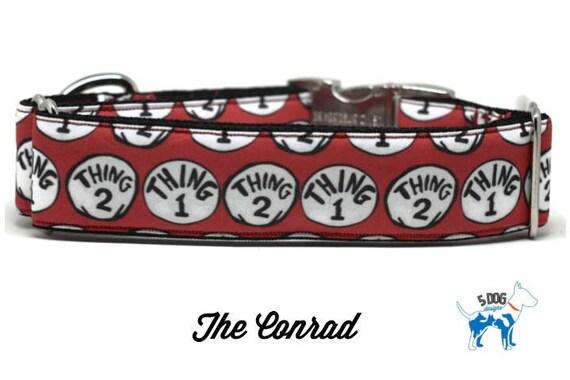 Thing 1 and Thing 2 Dog Collar, Martingale collar, Martingale Buckle, Metal Buckle Dog Collar, Cat Collar, The Conrad Custom Collar