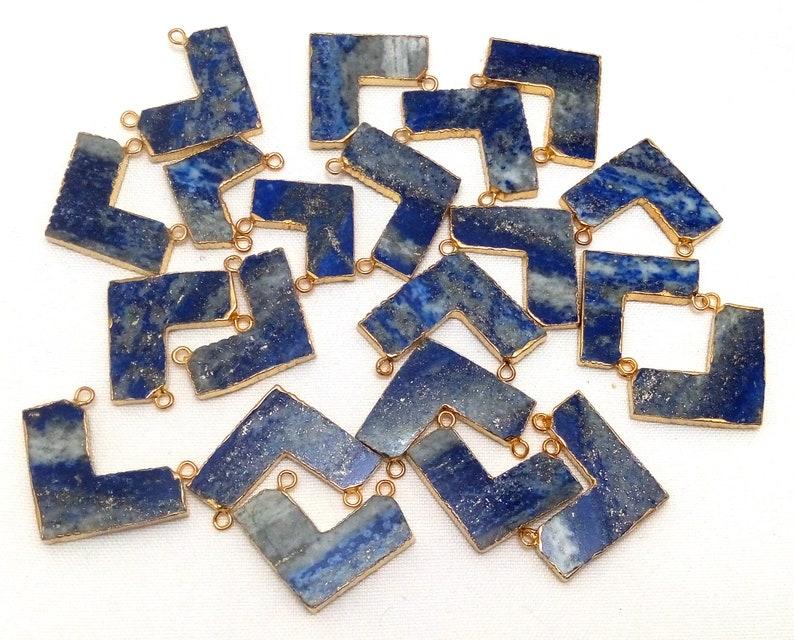 Ranges from 23x27.5mm to 29.5x41mm Lapis Lazuli Chevron Shape Gold Electroplated Pendantscharm