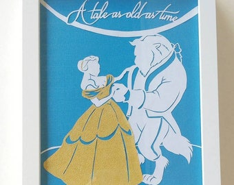 Beauty and The Beast Papercut - A Tale As Old As Time