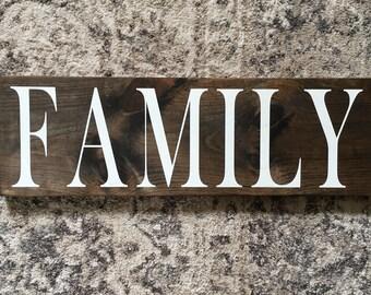"Family Sign | Rustic Family Sign | Family | Rustic Sign | Wood Family Sign | Family Decor | 8"" x 24"""