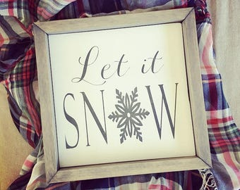 Let It Snow   Let It Snow Sign   Winter Sign   Holiday Sign   Christmas Decor   Winter Decor   Wood Winter Sign   Snowflake   Christmas Sign