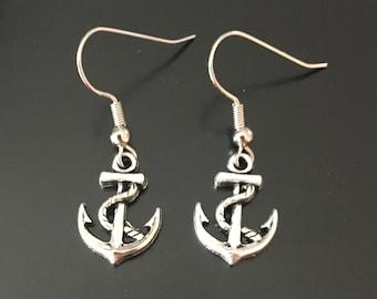 Anchor Dangle Earrings, Anchor Earrings