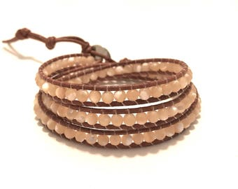 Handmade Natural Mother of Pearl Triple Wrap bracelet
