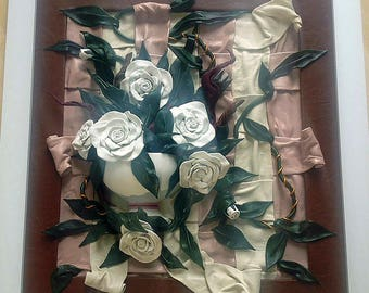 White Roses Bouquet Leather Art Painting