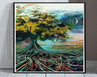 6a3813fa7 Tree of Life Wall Art - Spiritual Art Decor - Sacred Tree of Life Gift -  Life Tree Painting Print - Tree of Knowledge - Buddhism - Zen Art