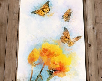 Nature Prints - Butterfly Print Watercolour Painting - Yellow Wall Art - Monarch Butterfly Spring Flower Poster - Kitchen Wall Art