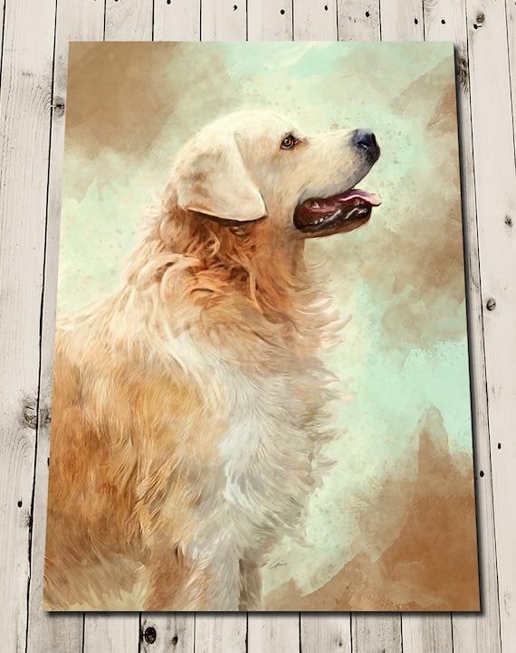 Golden Retriever Member Of The Family Dog Lovers Portrait Paper Poster No Frame