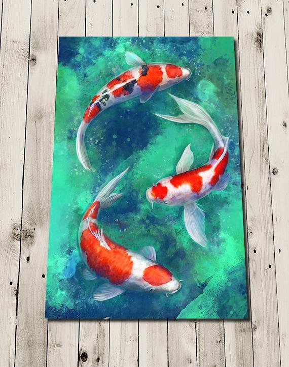 Koi fish print art koi affiche peinture impression koi etsy for Carpe koi a acheter