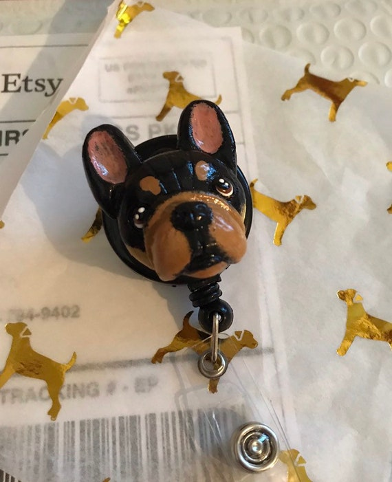 French Bulldog Retractable Badge Reel ID Holder