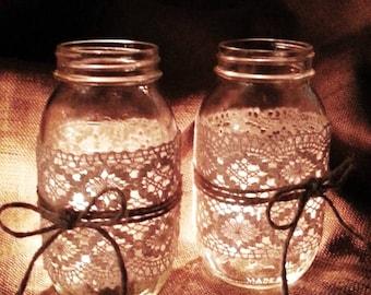 Mason Jar decor, set of 2 Mason Jars, Luminaries, Mason Jar candle holders, burlap & lace jars, Rustic Jar decor, table decor, wedding decor