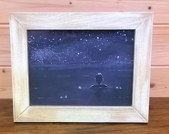 Night Swimmer in deepest plum seas - starry night art in chunky frame