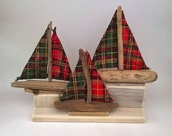 I Saw Three Ships Christmas centrepiece - Cornish driftwood boats with tartan sails on whitewashed reclaimed wood