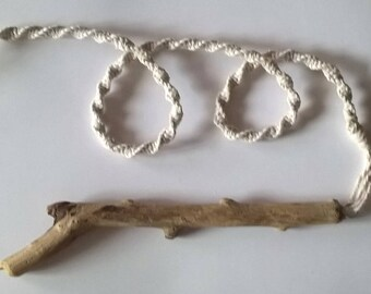 White spiral macramé light pull with Cornish driftwood