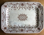 Antique Ironstone Platter T R Boote Tournay Brown Transferware