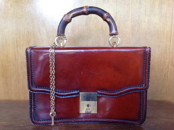 Vintage Italian Leather Purse with Bamboo Handle   Etsy 74adf5b3c8