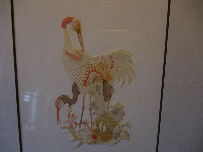 PAIR Vintage Asian paper cut crane birds framed hand colored signed elegant art oriental nature Florida flamingo water color decor tropical