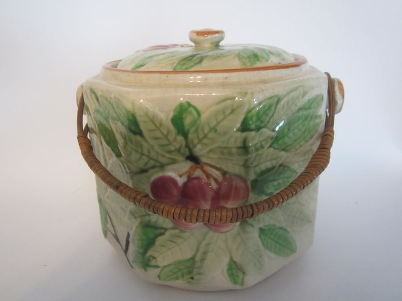 Antique Majolica biscuit jar w lid bamboo handle cherries..BEAUTIFUL early Japan art kitchen farmhouse