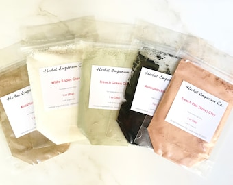 CLAY SAMPLER PACK - Soap Making, Australian Midnight Black Clay, Rhassoul Clay, White Kaolin Clay, French Rose Clay, French Green Clay,