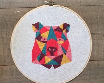 Geometric Color Bear Hoop Embroidery
